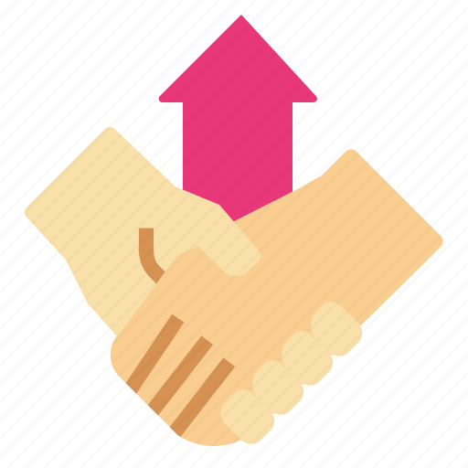 arrowup, co, growth, handshake, opperation icon