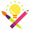 art, creative, idea, lightbulb, pencil icon