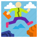 business, businessman, determine, jump, problem icon