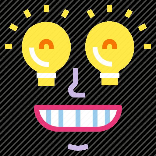 excellence, idea, inspiration, lightbulb, smile icon