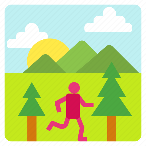 healthy, lifestyle, mountain, runner icon