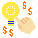 handclick, lightbulb, money, startidea, startup icon