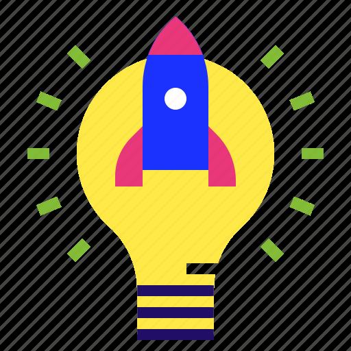 idea, innovation, lightblub, rocket, startup icon