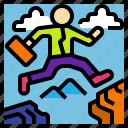business, businessman, determine, jump, problem icon