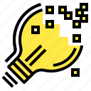 digital, idea, lightbulb, pixel, technology icon