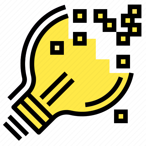 digital, idea, lightbulb, pixel, technology icon