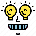 excellence, idea, inspiration, lightbulb, smile icon