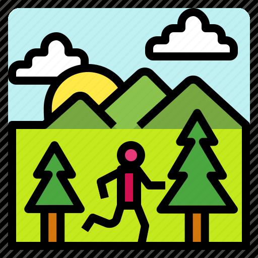 healthy, lifestyle, mountain, runner icon