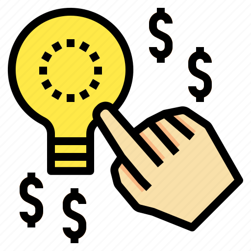 handclick, lightbulb, money, startidea, startup icon