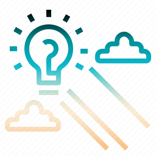 idea, inovation, lightbulb, sky, startup icon