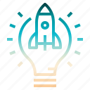 idea, innovation, lightblub, rocket, startup icon