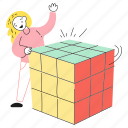 ready, user, success, game, solve, cube, puzzle, done, solution, rubik, woman, product, play