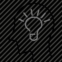 idea, lightbulb, person, startup, user icon