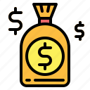 bag, bank, currency, investment, money, savings icon