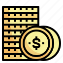 business, cash, coins, dollar, money icon