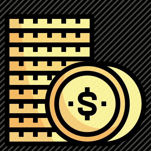 business, cash, coins, dollar, money icon
