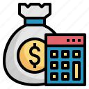 budget, calculator, investment, management, money icon