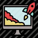 landing, monitor, project, rocket, start up, startup, takeoff icon