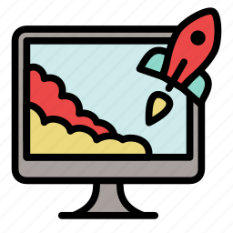 landing, monitor, project, rocket, start up, startup, takeoff icon