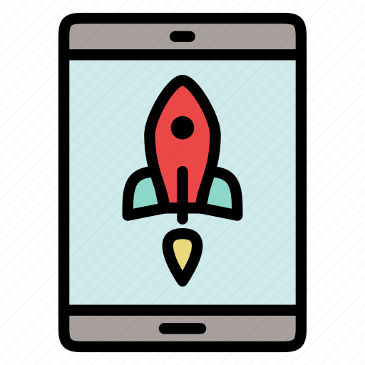 rocket, start up, startup, tablet, takeoff icon