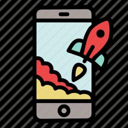 mobile, phone, rocket, start up, startup, takeoff icon