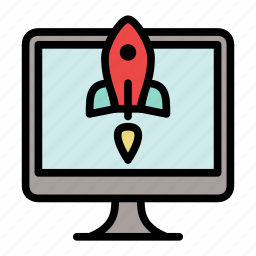 landing, monitor, rocket, start up, startup icon
