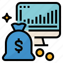 analysis, earning, income, money, profit icon