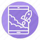 rocket, start up, startup, tablet, takeoff icon