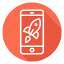mobile, phone, rocket, start up, startup, takeoff icon