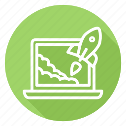 laptop, notebook, rocket, start up, startup, takeoff icon