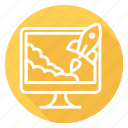 monitor, rocket, start up, startup, takeoff icon
