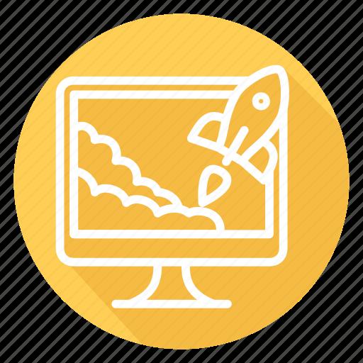monitor, rocket, start up, startup, takeoff icon