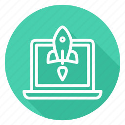 laptop, notebook, rocket, start up, startup, takeoff icon