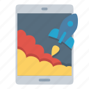 rocket, start, startup, tablet, takeoff, top icon