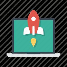 laptop, notebook, rocket, start, startup, takeoff, top icon