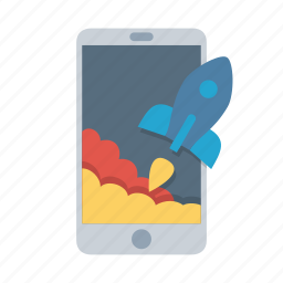 mobile, phone, rocket, start, startup, takeoff, top icon
