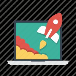 laptop, notebook, rocket, start, startup, takeoff icon