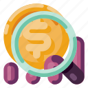 business, industry, internet, magnifying glass, media, money, startup icon