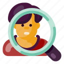 business, industry, internet, magnifying glass, media, people, startup icon