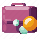 bulb, business, industry, internet, media, office bag, startup icon