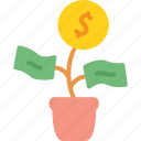 business, cash, coin, money, plant, start up, startup icon