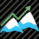arrow, business, mountaine, peak, start up, startup icon
