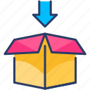 box, cardboard, cargo, packaging, parcel, product, unbox icon