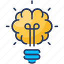 brain, bulb, creative, idea, knowledge, mind, productivity icon
