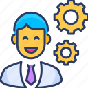 business, creative, manager, manufacturing, modern, production, worker icon