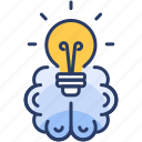 big, brain, bulb, idea, light, think icon