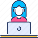 employee, female, office, remote employee, secretary, worker icon