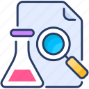analyze, experiment, flask, formula, report, research, test