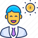 banker, buyer, coin, investor, payroll, salary, seller icon