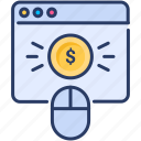 click, money, mouse, pay, per, ppc, web icon